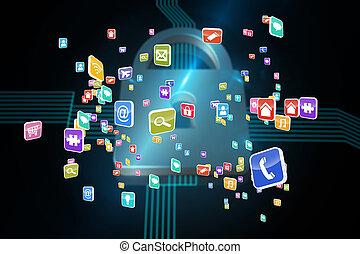 imagem composta, de, colorido, computador, aplicações