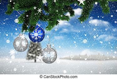 imagem composta, de, decorações natal