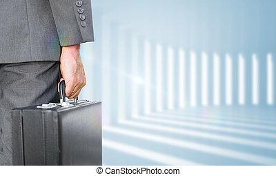 imagem composta, de, homem negócios, prendendo pasta