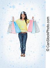 imagem composta, de, irradiando, mulher, estudante, com, bolsas para compras