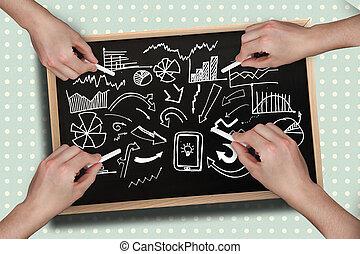 imagem composta, de, múltiplo, mãos, desenho, brainstorm,...