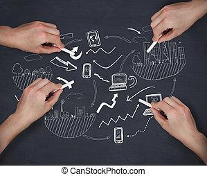 imagem composta, de, múltiplo, mãos, escrita, brainstorm,...