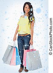 imagem composta, de, mulher bonita, estudante, com, bolsas para compras