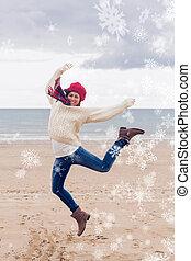imagem composta, de, mulher, em, elegante, roupa morna, pular, em, bea