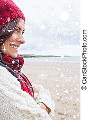 imagem composta, de, mulher, em, tricotado
