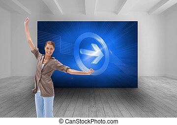 imagem composta, de, mulher feliz, pular