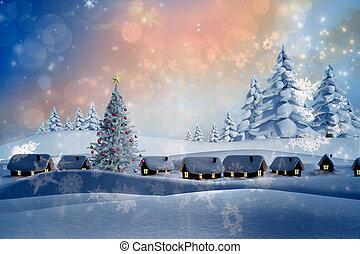 imagem composta, de, neve coberta, vila