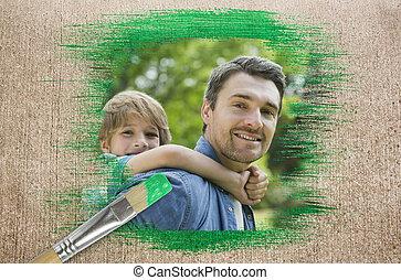 imagem composta, de, pai filho, parque