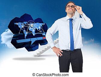 imagem composta, de, pensando, homem negócios, inclinando,...