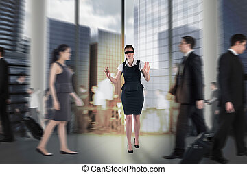 imagem composta, de, ruivo, executiva, em, um, blindfold