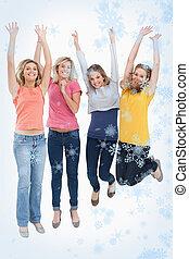 imagem composta, meninas, cima, celebrando, pular, sorrindo
