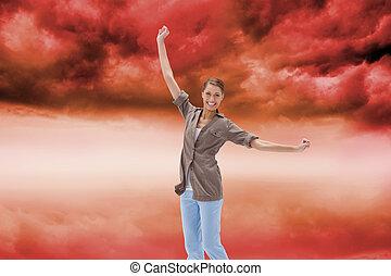 imagem composta, mulher, pular, feliz