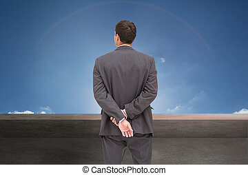 imagem composta, posar, classy, homem negócios, vista...