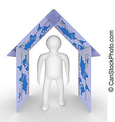 imagem conceitual, de, pessoa, em, a, house., isolado, 3d, imagem