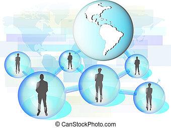 imagem, conectado, elementos, comércio pessoas, rede, nasa, ilustração, fornecido, globe., este