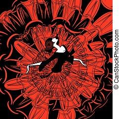imagem, dançarino, red-black