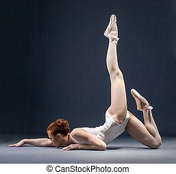 imagem, de, flexível, bailarina, dançar, em, estúdio