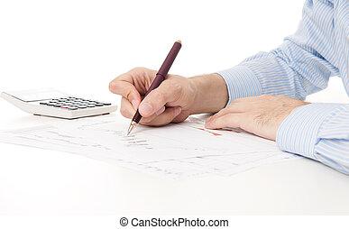 imagem, de, macho, mão apontando, em, documento negócio