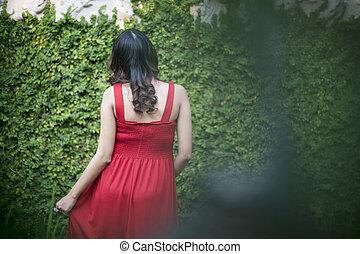 imagem, de, mulher grávida, costas