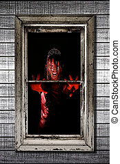 imagem, de, sangramento, mulher, em, janela