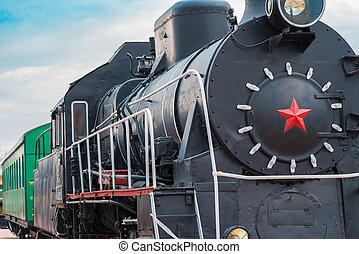 imagem, de, um, antigas, locomotiva, closeup