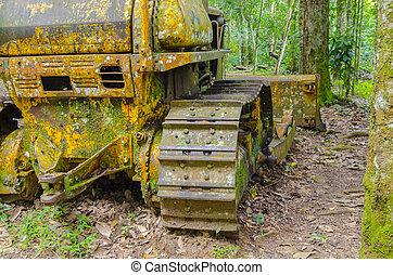 imagem, de, um, antigas, tractor.