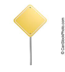 imagem, em branco, sinal amarelo