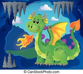 imagem, feliz, 3, tema, dragão