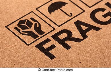 imagem, frágil, cima fim, papelão, multa, símbolo