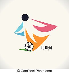 imagem, futebol, símbolo, desporto, experiência., vetorial, desenho, ícone, branca, abstratos, logotipo