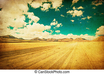 imagem, grunge, deserto, estrada