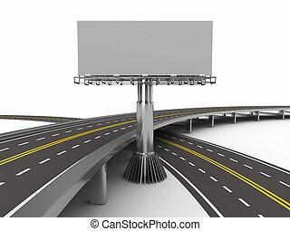imagem, isolado, billboard., asphalted, estrada, 3d
