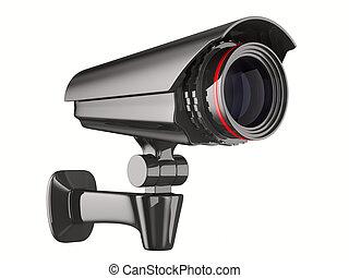 imagem, isolado, experiência., câmera, branca, segurança, 3d