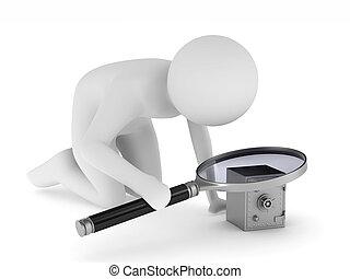 imagem, isolado, experiência., magnifier, branca, homem, 3d