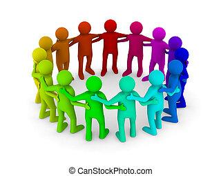 imagem, isolado, teamwork., conceitual, branca, 3d