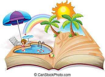 imagem, livro, piscina