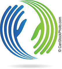 imagem, mãos, pacto, logotipo