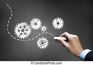 imagem, mechanism., conceito, trabalhando