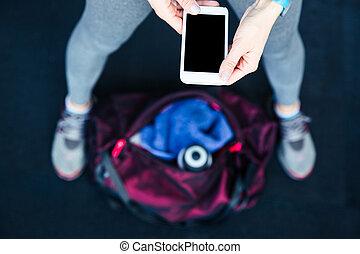 imagem, mulher, closeup, smartphone, segurando