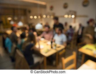 imagem, obscurecido, amigos, restaurante