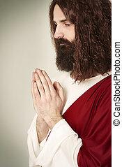 imagem, orando, christ, jesus