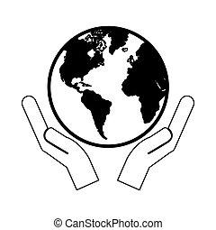 imagem, planeta, segurando, mãos, terra, ícone