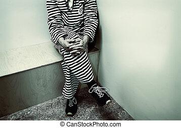 imagem, prisão, retro, denominado, prisioneiro, dentro