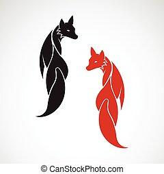 imagem, raposa, vetorial, desenho, fundo, branca