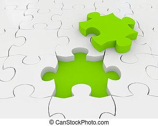 imagem, representado, puzzle., 3d
