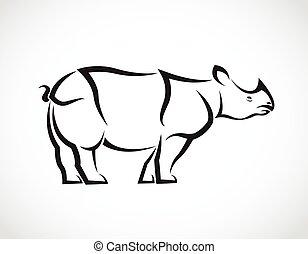 imagem, rinoceronte, vetorial, desenho, fundo, branca