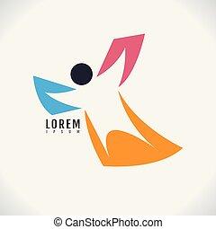 imagem, símbolo, desporto, experiência., vetorial, desenho, human, ícone, branca, abstratos, logotipo