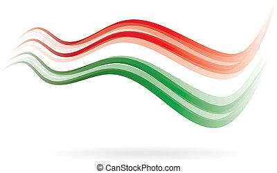imagem, swoosh, bandeira verde, ler, branca