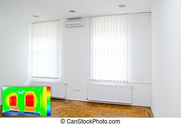 imagem térmica, de, quarto vazio