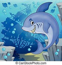 imagem, tema, tubarão, 4